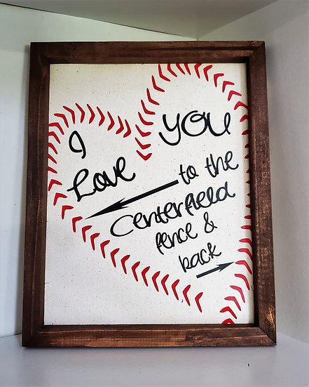 Canvas Baseball Love Framed Sign