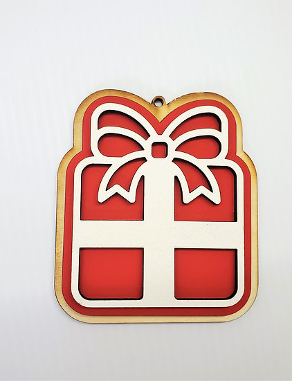 Christmas Gift Sugar Cookie Wooden Ornament