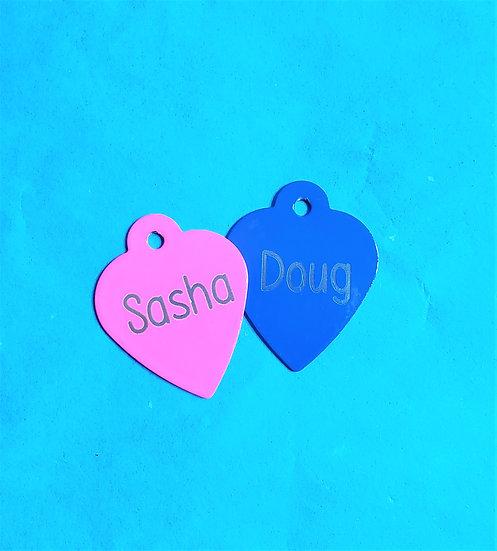 Custom Heart Pet / Cat / Dog Tags Engraved