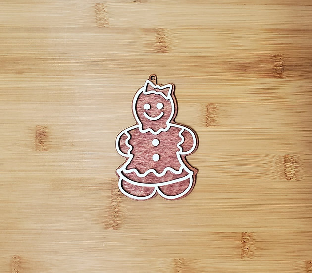 Gingerbread Girl Cookie Wooden Ornament