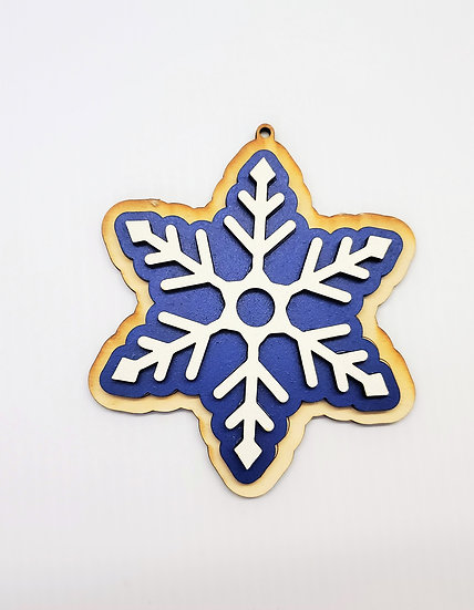 Snowflake Christmas Cookie Wooden Tree Ornament