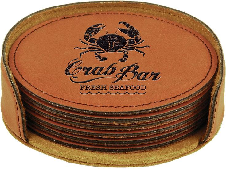 Custom Faux Leather Round Coaster Sets