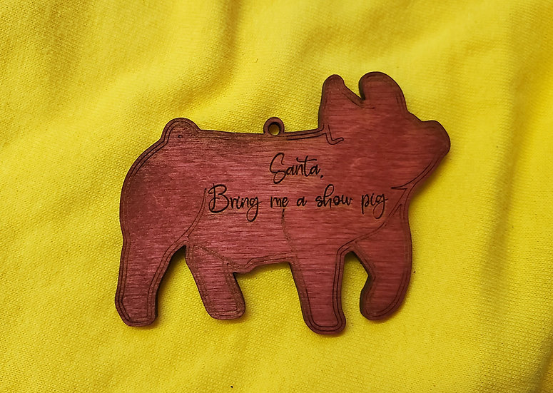 Santa bring a show pig / barrow / swine Christmas Ornament