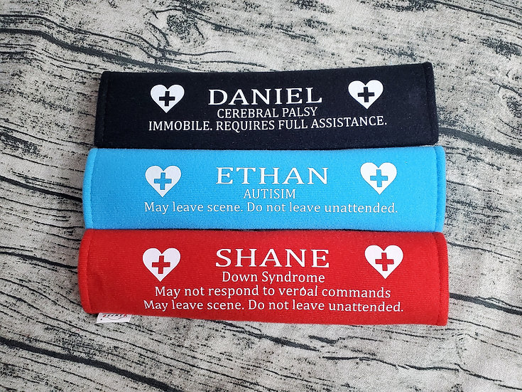 Custom Emergency Assist Medical Information Seat Belt Cushions for Special Needs