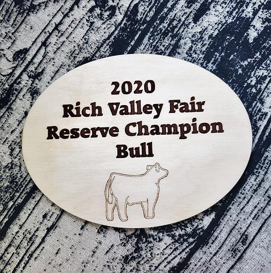 Oval Livestock Award Single Layer