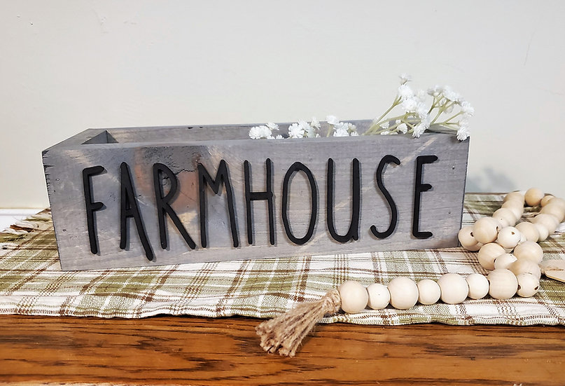 Rustic Farmhouse Gray Decorative Box