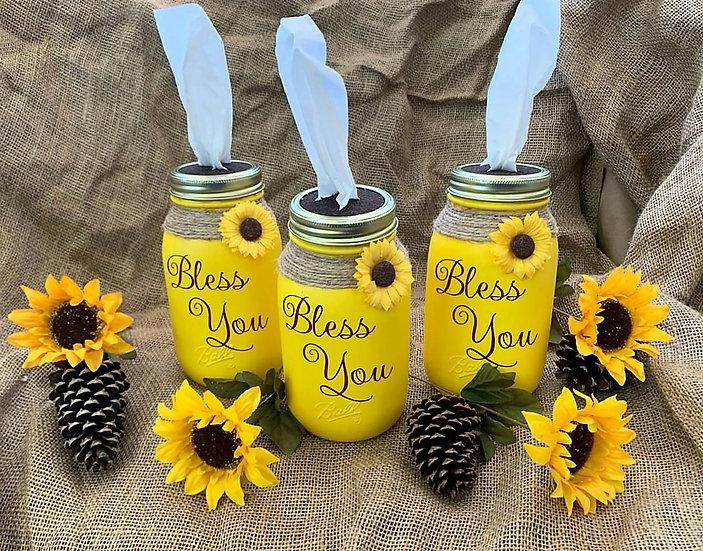 Sunflower Bless You Tissue Jar