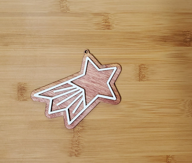 Shooting Star Gingerbread Cookie Style Wooden Ornament