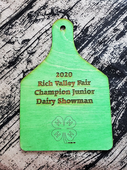 Green Stained 4-H Livestock Award Ear Tag