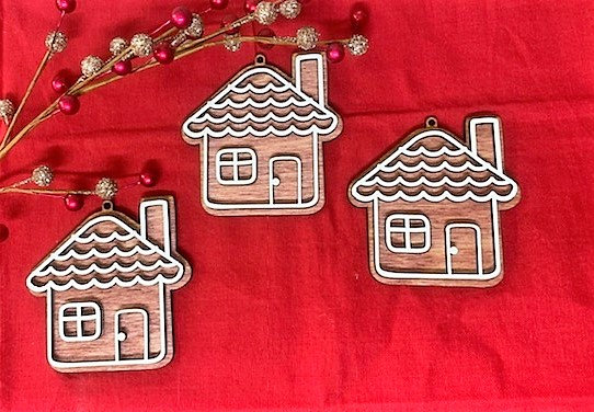 Gingerbread House Baked Cookie Wooden Ornament