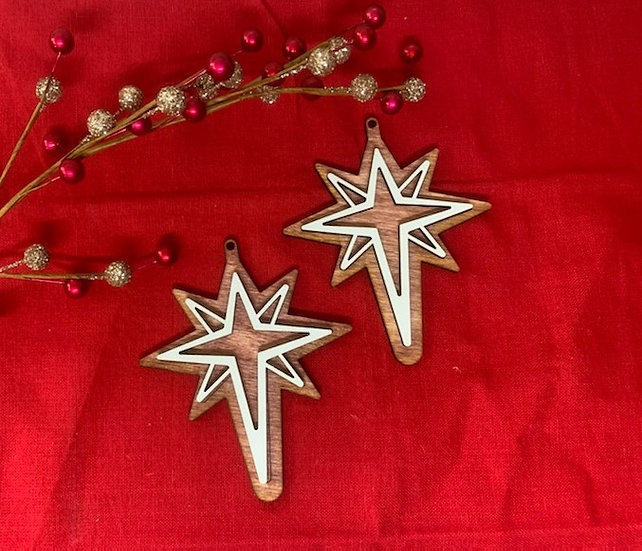 Bethlehem Star Gingerbread Cookie Style Wooden Ornament