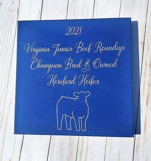 Faux Leather Engraved 10x10 Wall Decor Award