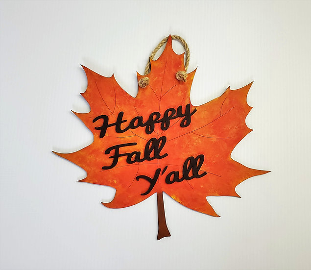 Happy Fall Y'all Big Leaf Door Hanger