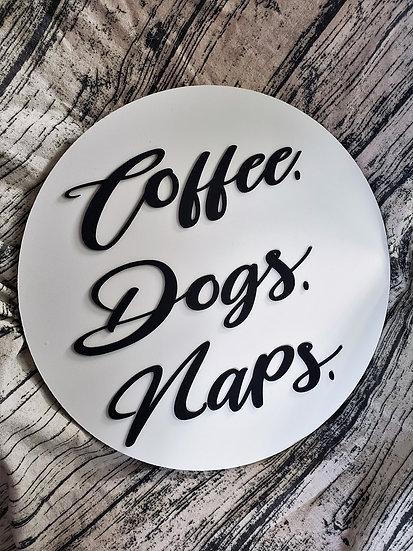 Coffee Dogs Naps Door Hanger Sign