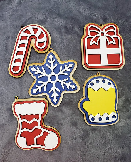 Set of 5 Faux Sugar Cookie Wooden Christmas Ornaments
