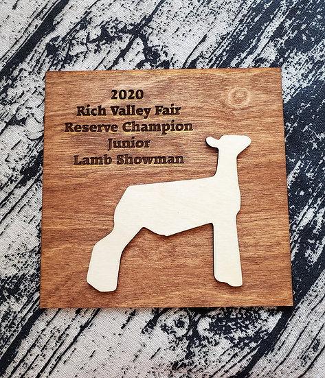 Square 3D Engraved Livestock Award