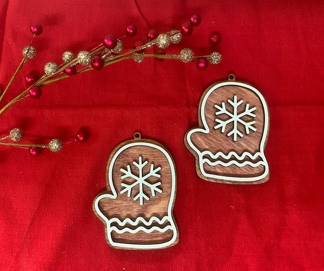Snowflake Mitten Gingerbread Style Wooden Ornament