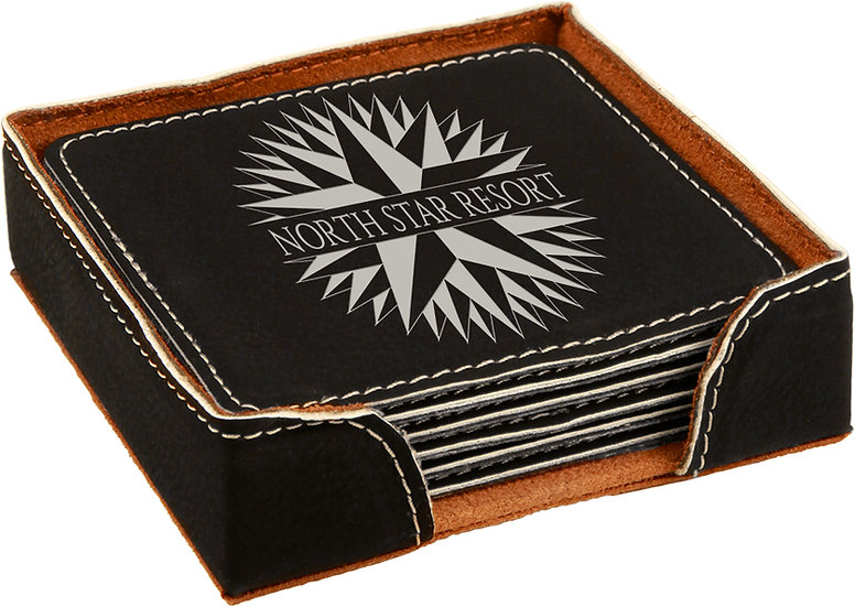 Custom Faux Leather Coaster Sets Square Various Colors