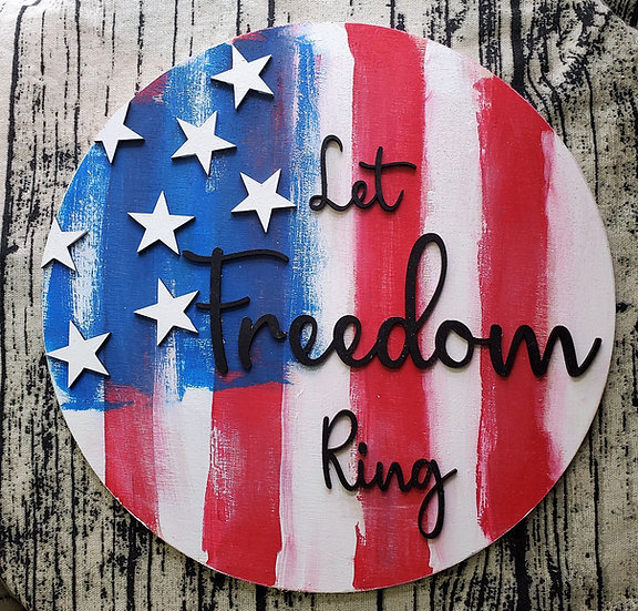 American Flag Freedom Ring Vertical