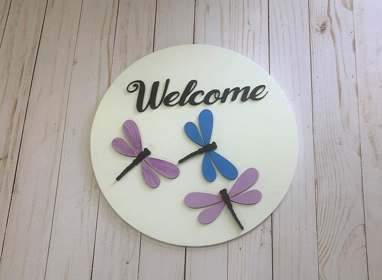 Dragonfly Welcome Door Hanger Sign