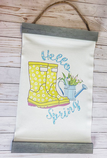 Hello Spring Canvas and Wood Banner