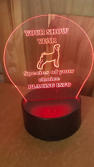 Rounded Acrylic Light Up Livestock Award