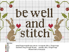 Be Well and Stitch frog cottage designs