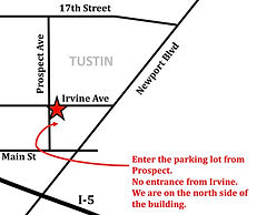 "A thumbnail image of our printable map. Clicking it will download a PDF map. The image includes the directions ""Enter the parking lot from Prospect. No entrance from Irvine. We are on the north side of the building."""