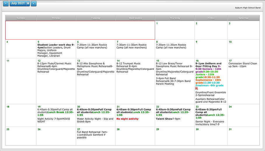AHS July Calendar
