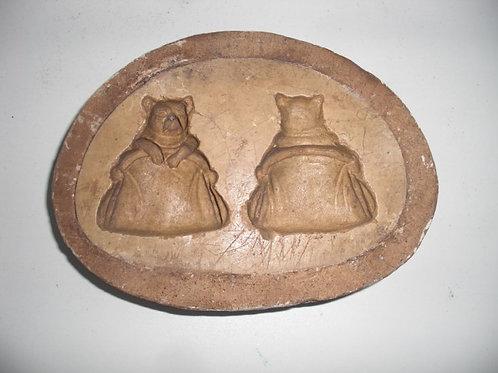 016 Antike 1-teilige Marzipanform aus Schwefelstein / Gips