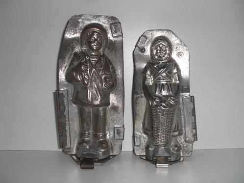 04010 Set von 2 antiken Schokoladenformen aus Metall 4010/11