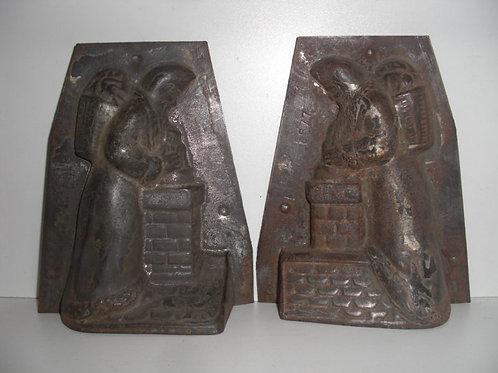 04577 antike Schokoladenform aus Metall  Nikolaus LÉTANG FILS