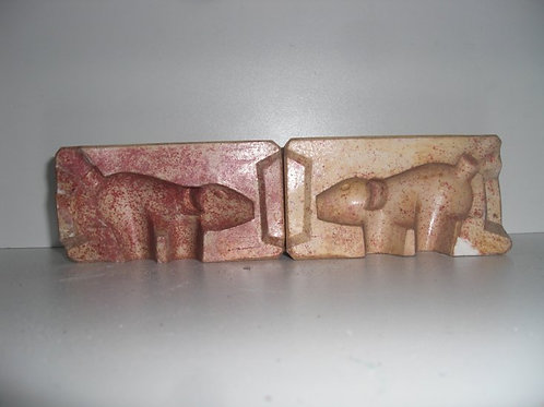 030 Antike 2-teilige Marzipanform aus Schwefelstein / Gips