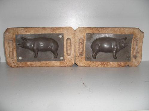 033 Antike 2-teilige Marzipanform aus Schwefelstein / Gips