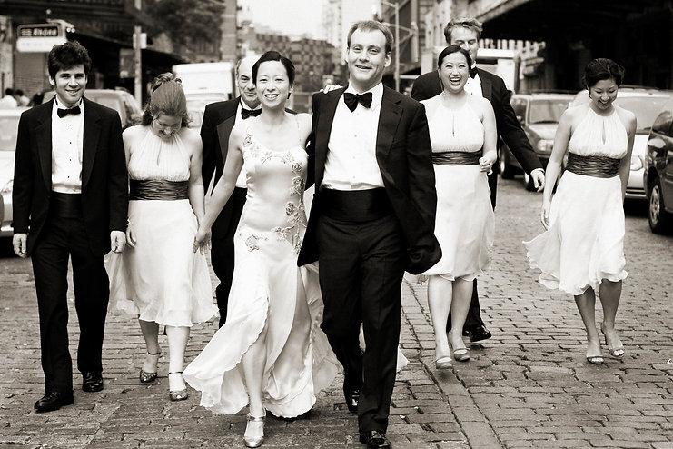 Friends walking on Wedding day