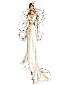 Sarah Treble sketch Satin panel dress co