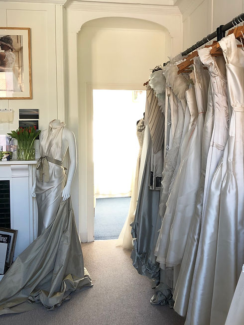 Wedding dresses in the studio in the afternoon