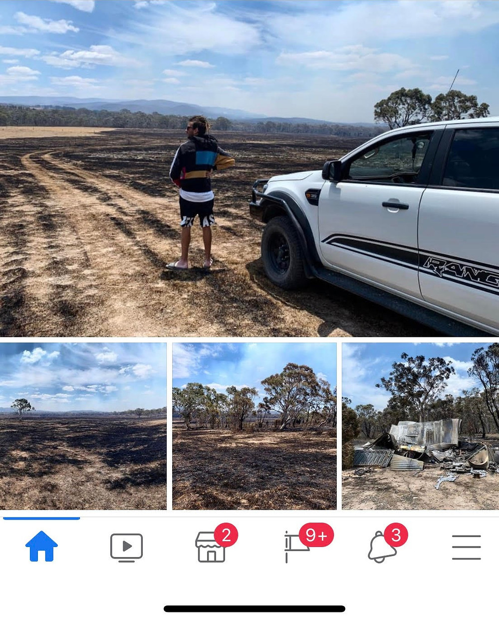There are four images. The top image is a man with his back to the camera, looking out over burned out land. The second and third image show burned out farmland. The final image shows a structure that has burned to the ground.