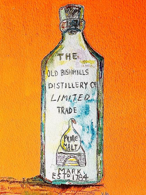 Antique Old Bushmills Whiskey Bottle