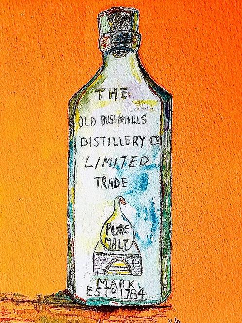 Antique Old Bushmills Bottle (Greeting Card)