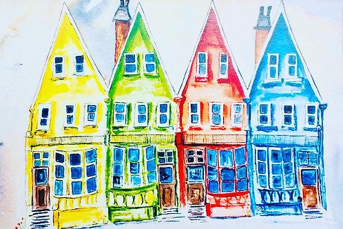 COLOURED HOUSES, SEASIDE TOWN, Co Antrim