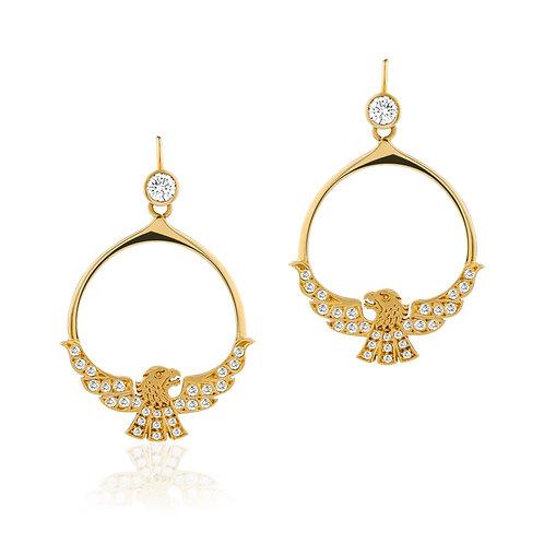 18ct Gold and Diamond Eagle Earrings.
