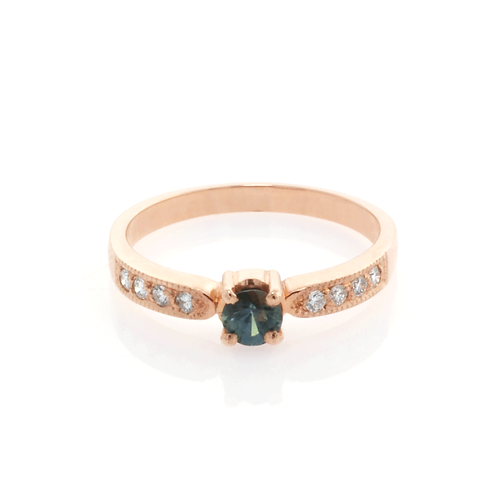 9ct Rose Gold and Diamond Parti-Sapphire Ring.