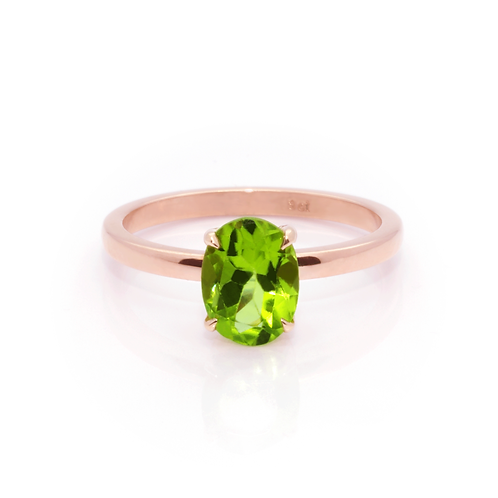 9ct Rose Gold and Peridot Ring.