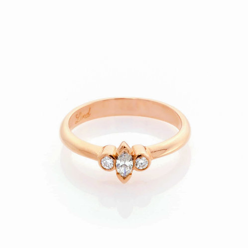 9ct Rose Gold Marquise Diamond Engagement Ring.