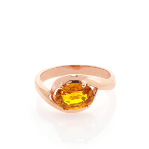 9ct Rose Gold and Citrine Ring.