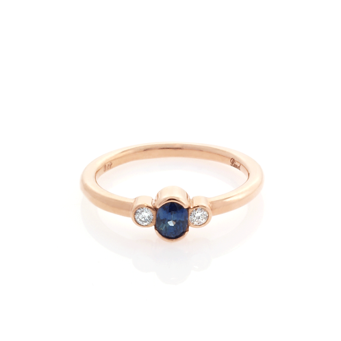 9ct Rose Gold and Diamond Sapphire Ring.