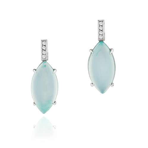 18ct Gold and Diamond, Chalcedony Cabochon Earrings.