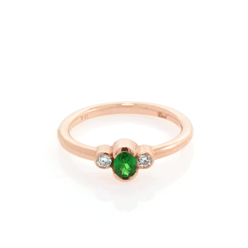 9ct Rose Gold and Diamond Green Garnet Ring.