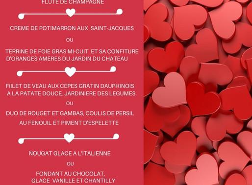 Soirée de la St-Valentin : Flûte de champagne, Menu et Duo Chanteuse/chanteur : 39,00€/personne